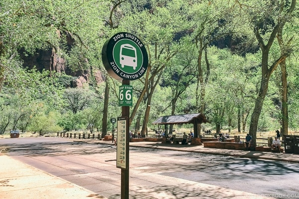 Zion shuttle stop 6 The Grotto on Canyon Line - Zion National Park Travel Guide | justonecookbook.com