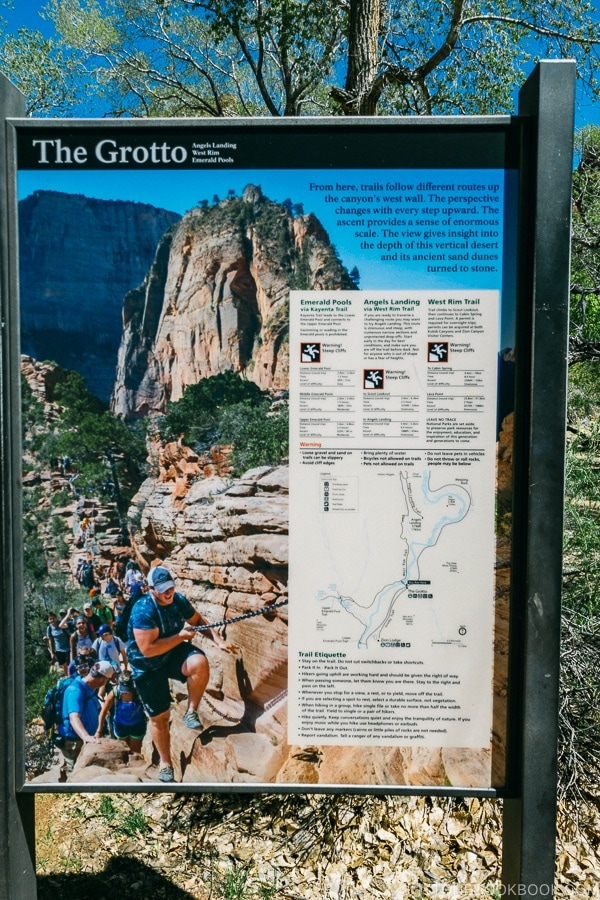 sign of various trail options near The Grotto - Zion National Park Travel Guide | justonecookbook.com
