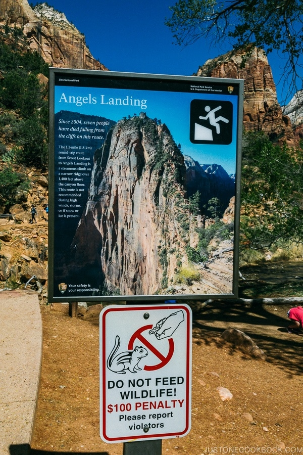 sign of Angels Landing near the trailhead - Zion National Park Travel Guide | justonecookbook.com