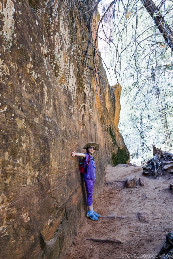 child in front of giant rock on Emerald Pools Trail - Zion National Park Travel Guide | justonecookbook.com