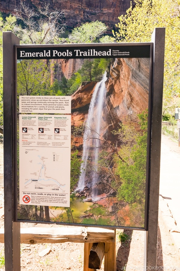 sign of Emerald Pools Trailhead - Zion National Park Travel Guide | justonecookbook.com