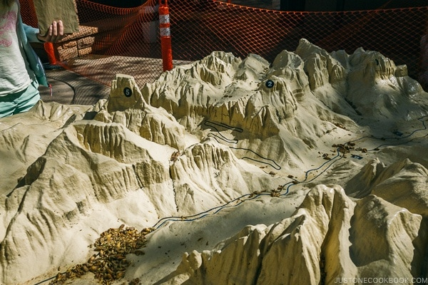 model of Zion Canyon at visitor center - Zion National Park Travel Guide | justonecookbook.com