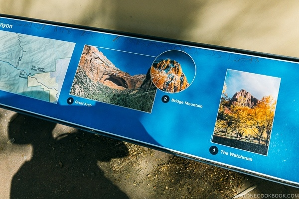 location name and image on model of Zion Canyon at visitor center - Zion National Park Travel Guide | justonecookbook.com
