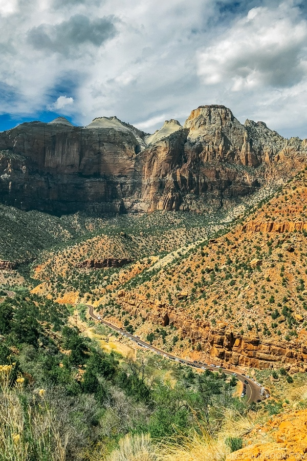 view of Zion Canyon from Zion Mt Carmel Hwy - Zion National Park Travel Guide | justonecookbook.com