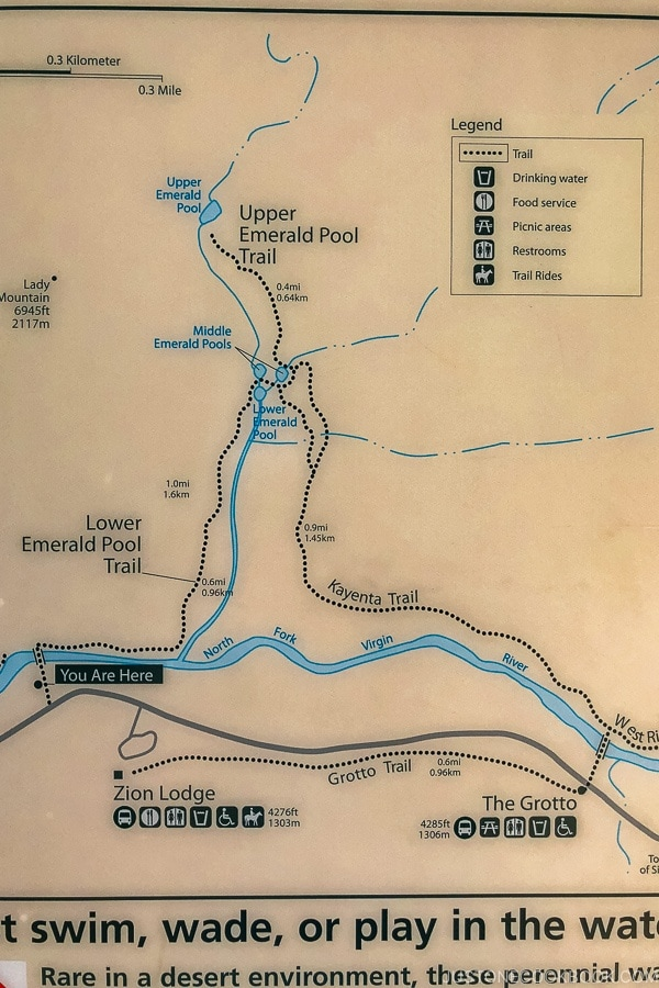 trail map for Emerald Pool - Zion National Park Travel Guide | justonecookbook.com