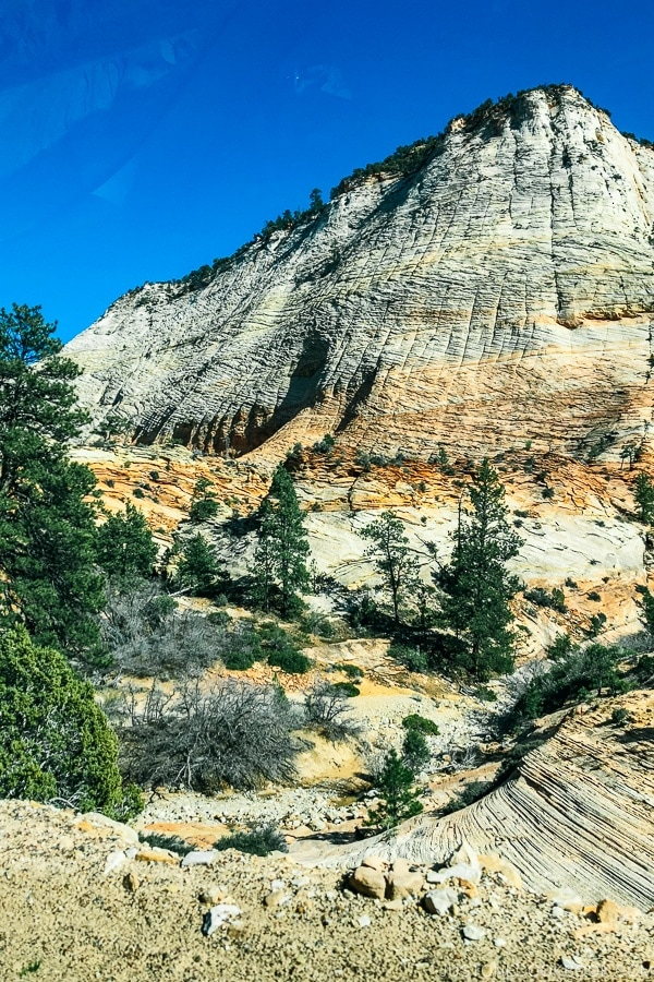sandstone hills near Checkerboard Mesa - Zion National Park Travel Guide | justonecookbook.com