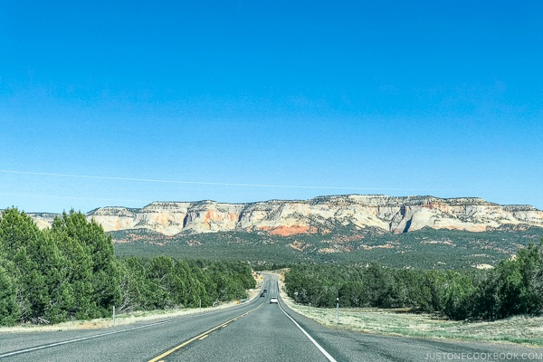 scenic view from Hwy UT-9 looking towards Mt Carmel Junction - Zion National Park Travel Guide | justonecookbook.com