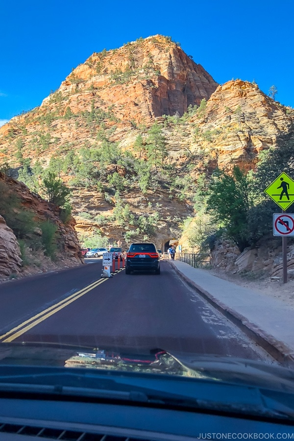 view of right before Zion Mount Carmel Highway tunnel from the east side - Zion National Park Travel Guide | justonecookbook.com