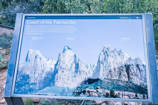 sign with Court of the Patriarchs image at the view point - Zion National Park Travel Guide | justonecookbook.com
