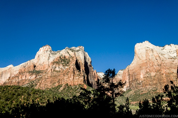 Abraham Peak from Court of the Patriarchs - Zion National Park Travel Guide | justonecookbook.com