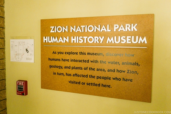 sign of Zion National Park Human History Museum - Zion National Park Travel Guide | justonecookbook.com