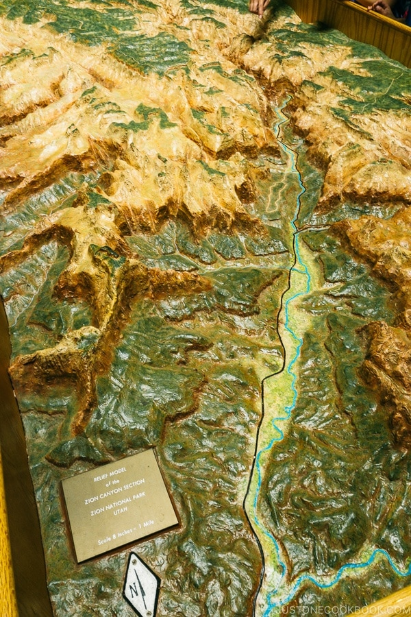 model of Zion Canyon at Zion Human History Museum - Zion National Park Travel Guide | justonecookbook.com