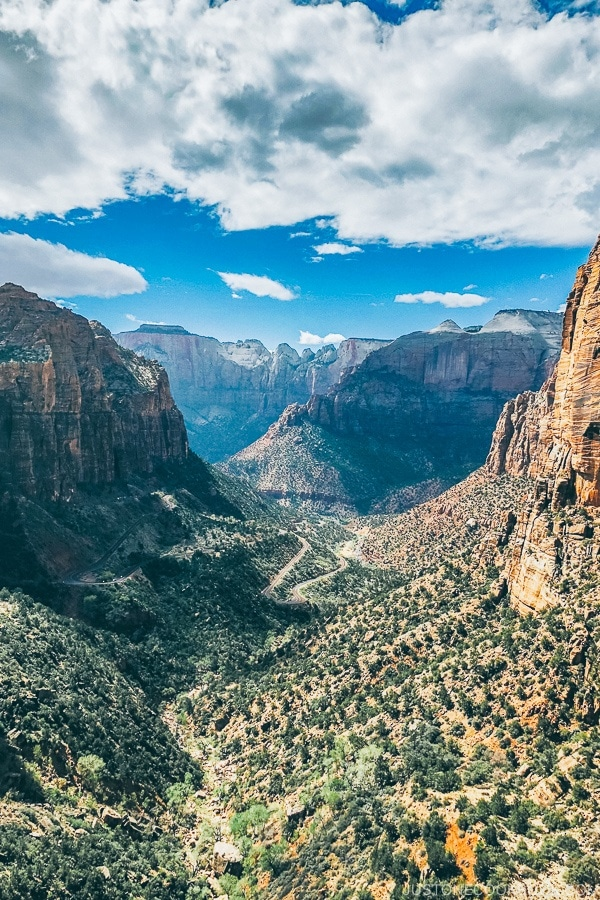 view of Zion Canyon from the end of Canyon Overlook Trail - Zion National Park Travel Guide | justonecookbook.com
