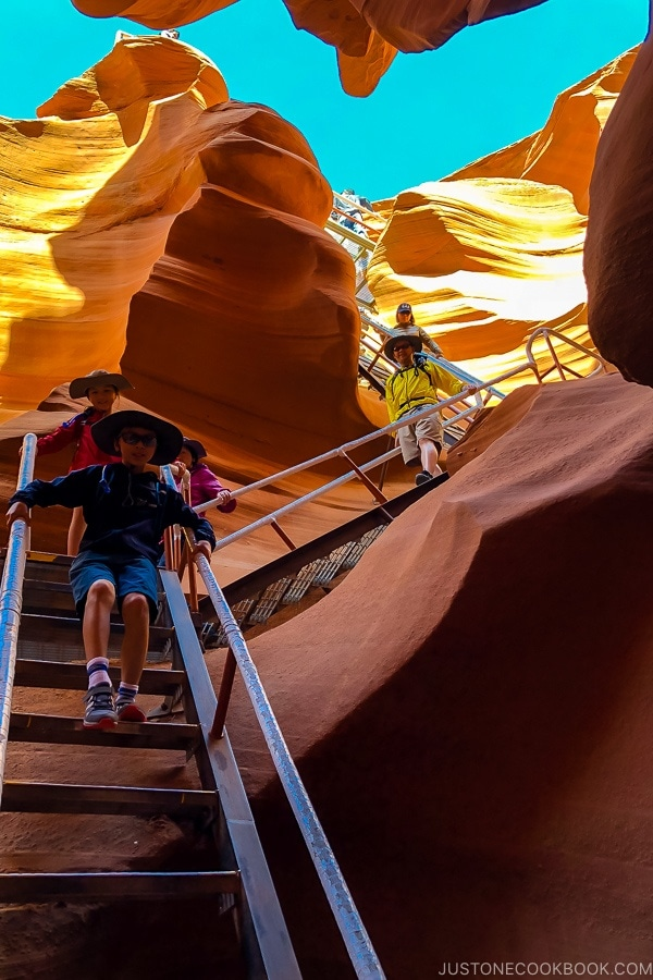 steps going into sand rock formation - Lower Antelope Canyon Photo Tour | justonecookbook.com