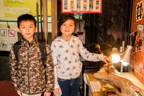 children standing next to lizard on display at Habu Park - Okinawa World | justonecookbook.com