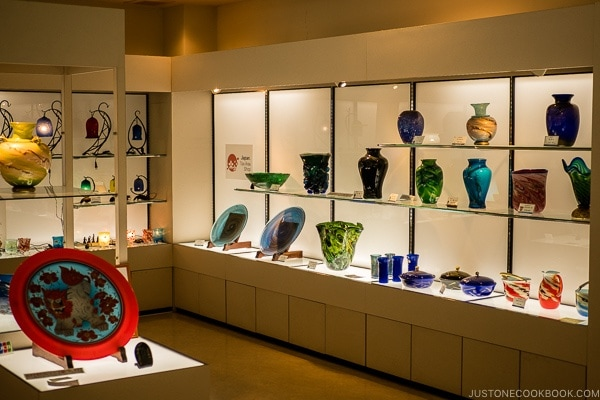 beautiful glass vases and plates in gift shop - Okinawa World | justonecookbook.com