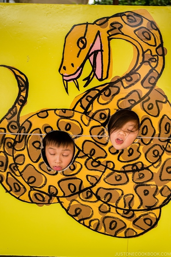 children behind a snack cutout - Okinawa World | justonecookbook.com