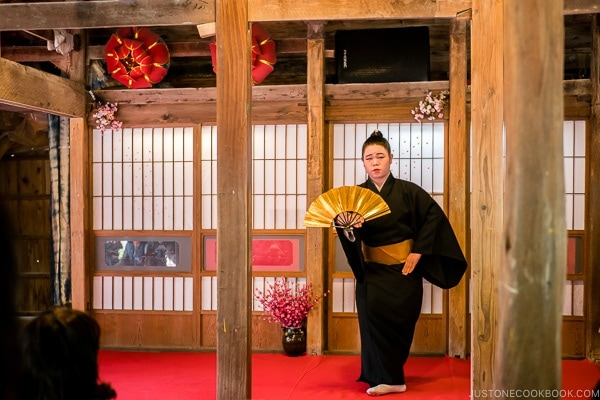 traditional dance with a Japanese fan at Ryukyu Mura Okinawa | justonecookbook.com