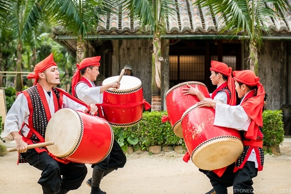 traditional Ryukyu dance performance with drums at Ryukyu Mura Okinawa | justonecookbook.com