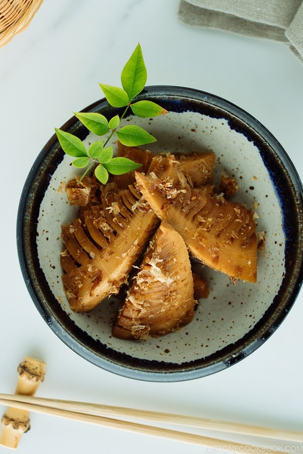 Simmered Bamboo Shoots in a handmade Japanese-style ceramic bowl.