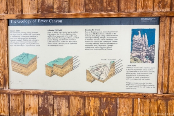 sign explaining The Geology of Bryce Canyon - Bryce Canyon National Park Travel Guide | justonecookbook.com