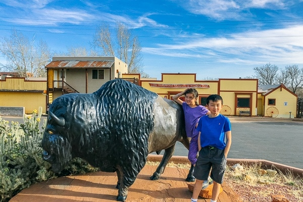 children in front of buffalo statue Little Hollywood Kanab Utah | justonecookbook.com