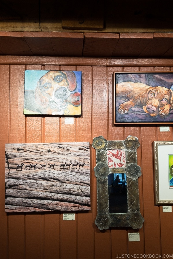 art gallery at Rocking V Cafe Kanab Utah | justonecookbook.com