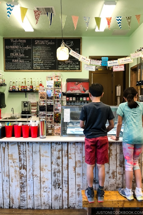 children inside The Soda Fountain Kanab Utah | justonecookbook.com
