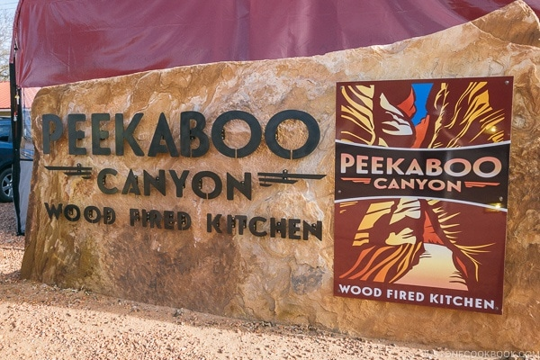 Peekaboo Canyon Wood Fired Kitchen sign Kanab Utah | justonecookbook.com