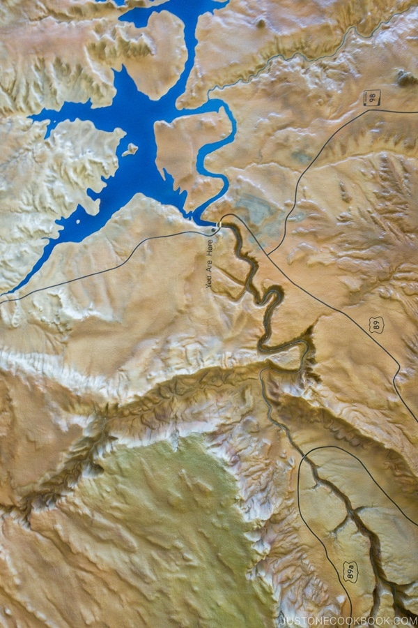 3D map of area surrounding Glen Canyon Dam - Carl Hayden Visitor Center | justonecookbook.com