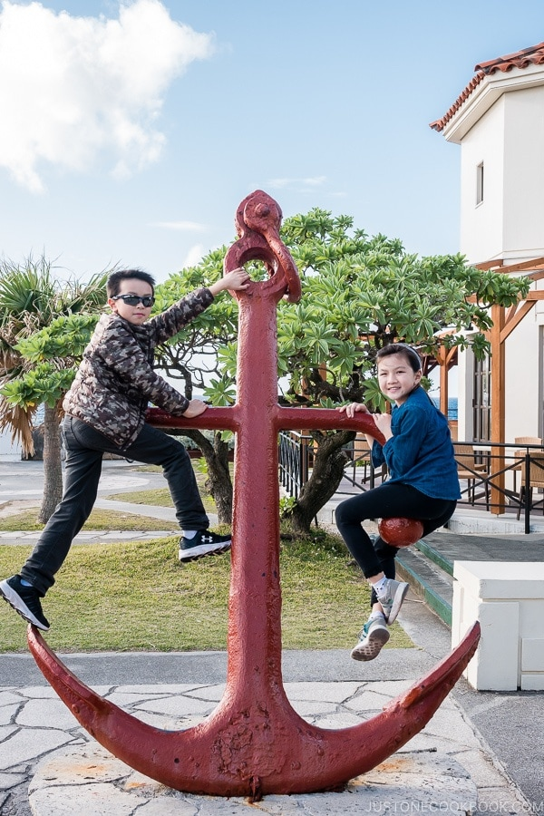 children climbing on an anchor at Busena Marine Park - Okinawa Travel Guide | justonecookbook.com