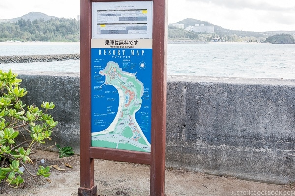 resort map sign next to the ocean - Okinawa Travel Guide | justonecookbook.com