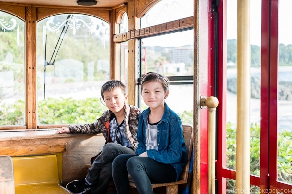 children on shuttle at Busena Marine Park - Okinawa Travel Guide | justonecookbook.com