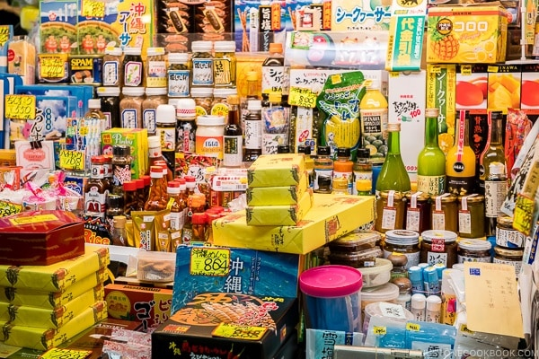 shops selling Okinawa souvenir at First Makishi Public Market - Okinawa Travel Guide | justonecookbook.com