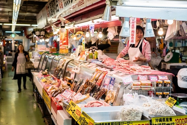 pork vendor at First Makishi Public Market - Okinawa Travel Guide | justonecookbook.com