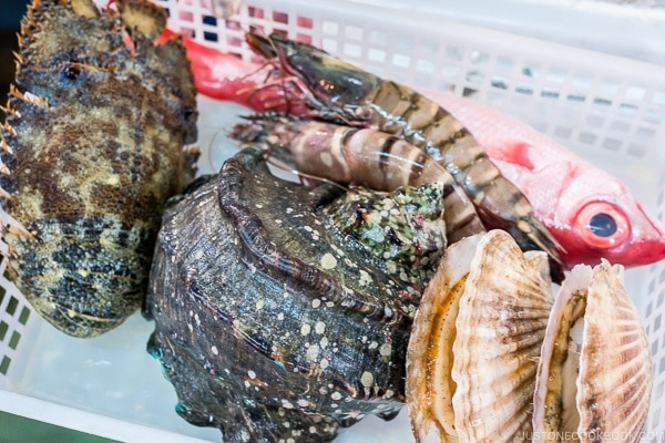 seafood for cooking at First Makishi Public Market - Okinawa Travel Guide | justonecookbook.com