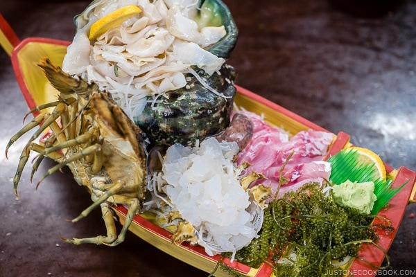 shellfish sashimi at First Makishi Public Market - Okinawa Travel Guide | justonecookbook.com
