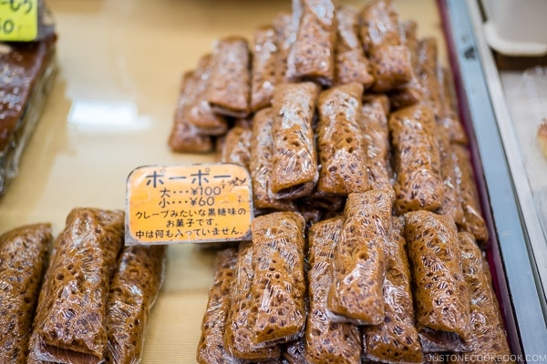 black sugar popo snack at First Makishi Public Market - Okinawa Travel Guide | justonecookbook.com
