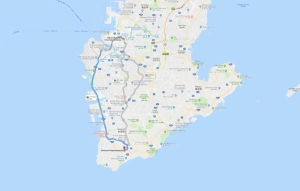 Google Maps Naha City to Himeyuri Peace Museum