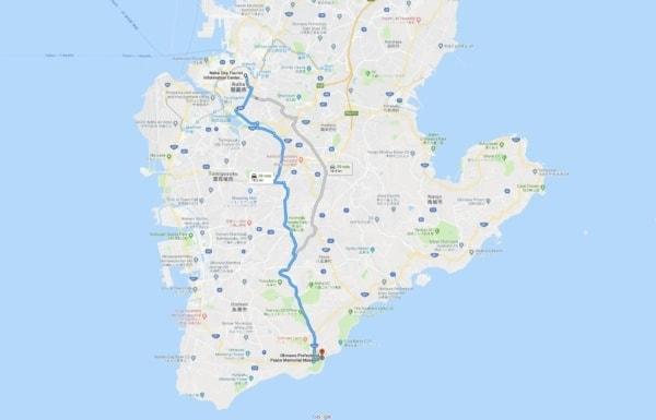Google Maps Naha City to Okinawa Prefectural Peace Memorial Park
