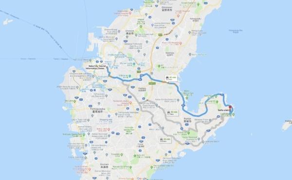 Google Maps Naha City to Seifa-Utaki