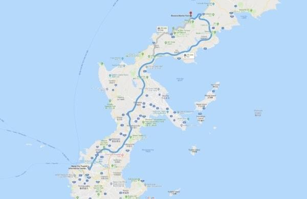 Google Maps from Naha City to Busena Marine Park