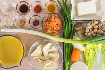 Kimchi Gyoza Nabe Ingredients