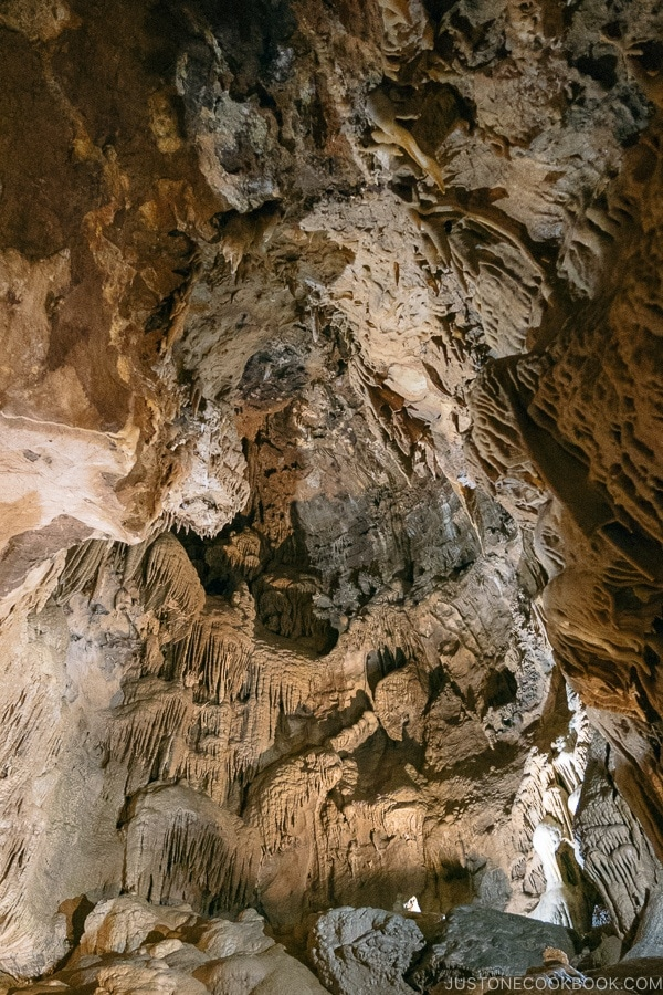 expansive stalactites formation inside cave - Lake Shasta Caverns Travel Guide | justonecookbook.com