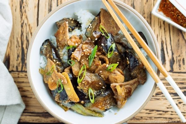 Miso Pork and Eggplant Stir Fry over steam rice.