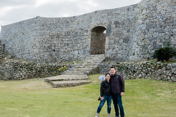 Nami and Mr. JOC on the ground of Nakagusuku Castle - Okinawa Travel Guide | justonecookbook.com