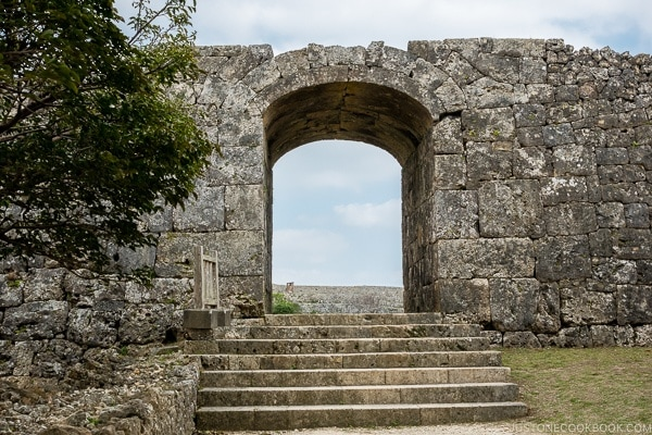 stone wall and doorway at Nakagusuku Castle - Okinawa Travel Guide | justonecookbook.com