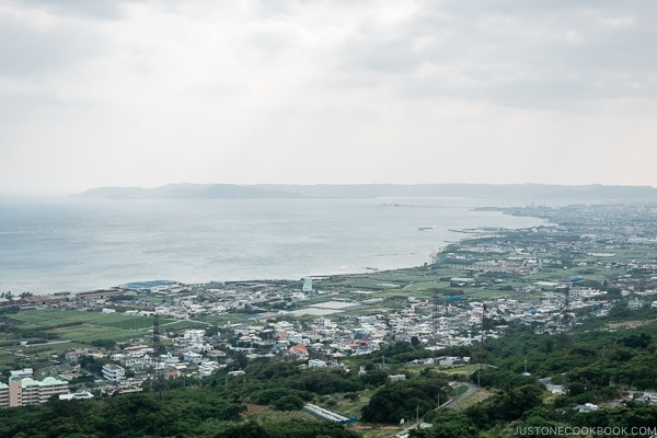 view of the coastline from Nakagusuku Castle - Okinawa Travel Guide | justonecookbook.com