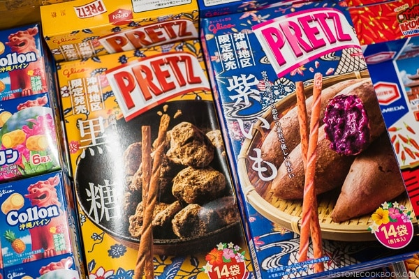Okinawa limited purple yam and black sugar Pretz - Okinawa Travel Guide | justonecookbook.com