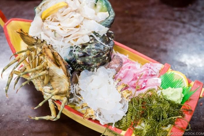 sashimi platter at First Makishi Public Market - Okinawa Travel Guide | justonecookbook.com